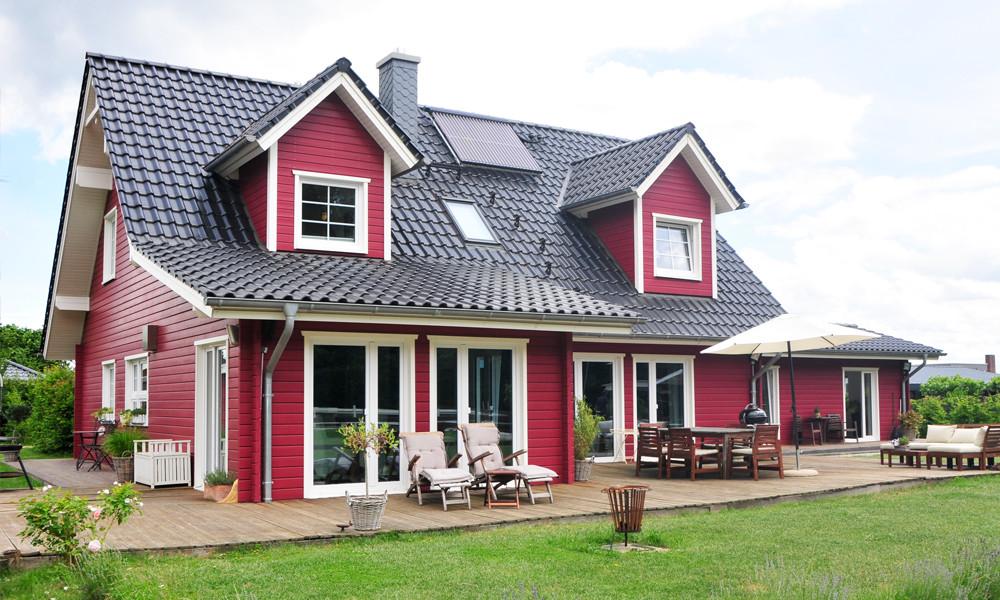 Fjorborg-Holzhaus – zweigeschossiges Haus – Haustyp Helsingör – Garten – Terrasse – BV6638