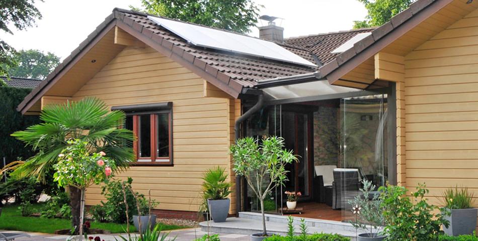 Fjorborg Haeuser - Wontraum Selbstbauer - ebenerdige Holzhaus - Haus mit Anbau - BV 4513