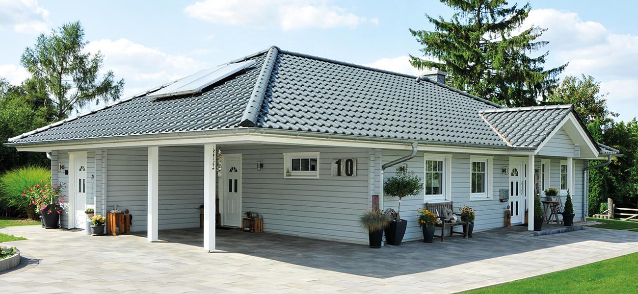 Fjorborg Holzhaeuser - ebenerdiges Holzhaus - Haustyp Malmoe mit Carport - BV6518