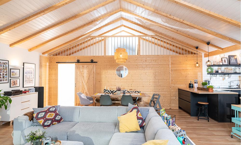 Fjorborg Häuser – ebenerdiges Holzhaus – offener Wohnbereich – BV6923