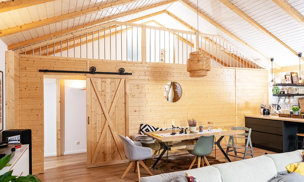 Fjorborg Häuser – ebenerdiges Holzhaus – offner Wohnbereich – BV6923