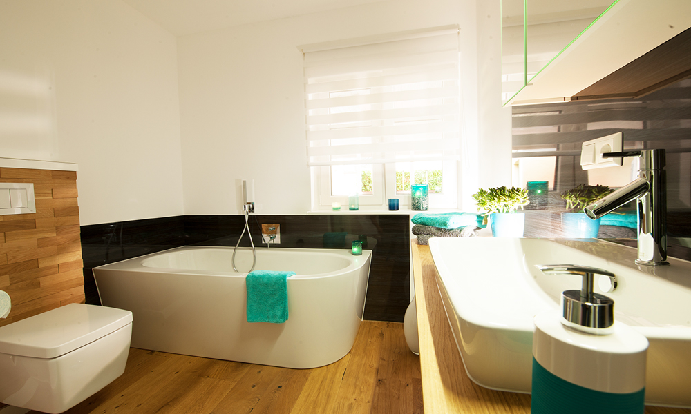 Fjorborg Häuser – ebenerdiges Holzhaus – Badezimmer – BV6830