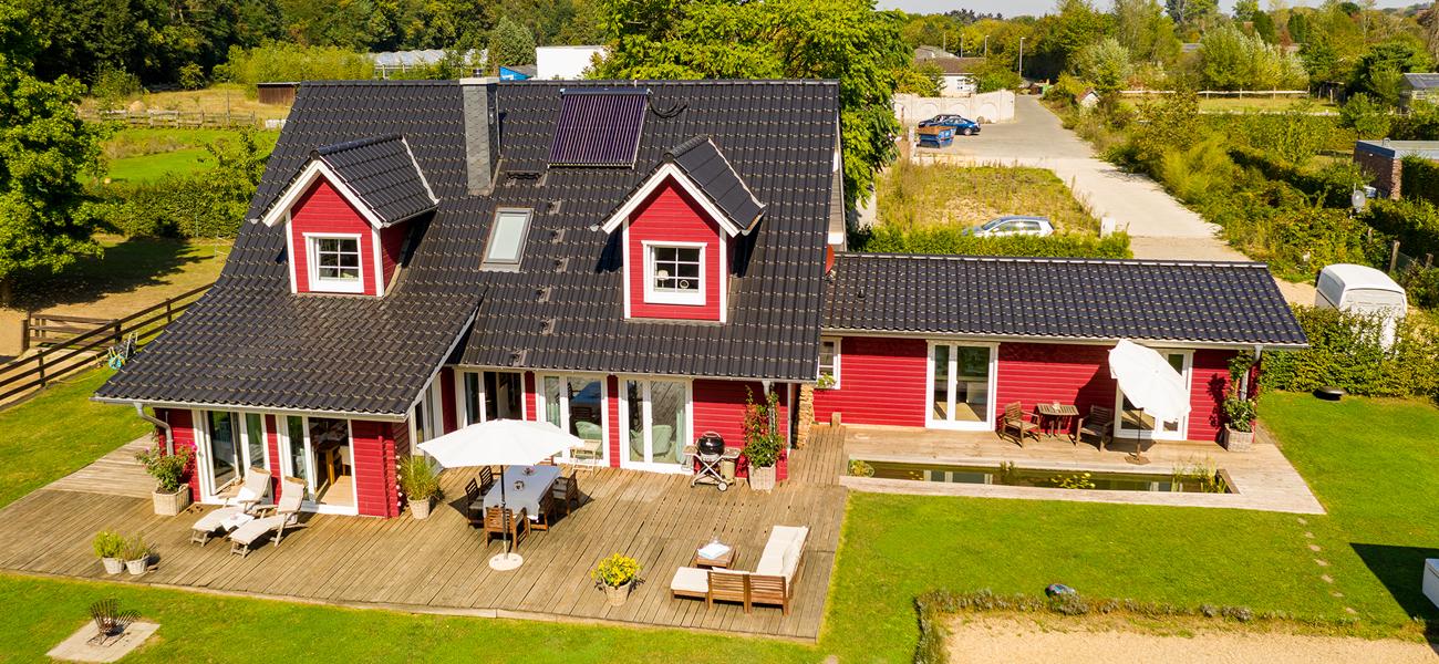 Fjorborg Holzhaeuser - Wohnen un Arbeiten unter einem Dach - Holzhaus von oben - Galerie - BV6638